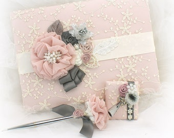 Wedding Guest Book,Blush,Guestbook,Gray,Pewter,Vintage Wedding,Signature Book,Sign In Book,Silver Wedding Pen,Lace Guest Book,Vintage Style