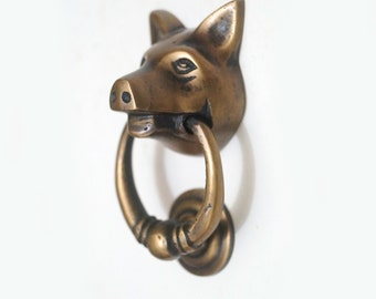 """2.95"""" Inches Mini VINTAGE Solid Brass PIG Farm Head State Farm front Mini Door KNOCKER with Pull Knocker or Drawer pulls Handle Use"""