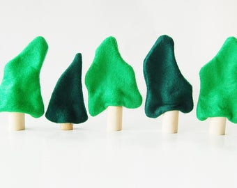 Enchanted Forest Woodland Trees - Felt  Trees - Set Of Five - Unique Gift- Zooble