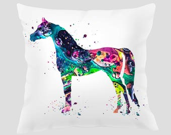 Watercolor Horse Throw Pillow, Watercolor Horse  Pillow, Pillow Cover, Accent Pillow, Nursery Decor, Kids Room Decor