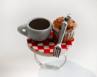 Breakfast Ring - Food Ring - Muffin Ring - Miniature Food Jewelry