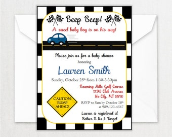 Race Car Baby Shower Invitations - Baby Boy Shower Invitation - Personalized Car Shower Invite - Customized Invites - Race track - DIGITAL