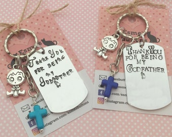 Godparents gift, Christening keyring, Godparent gift, Christening, Christening gift, Baptism gift, Godmother gift, Godfather gift, UK seller