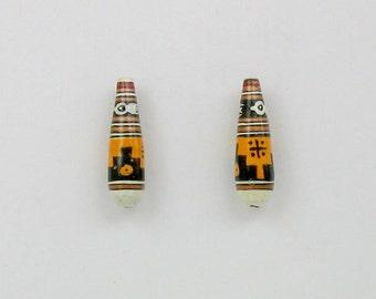 Handmade Ceramic Peruvian Teardrop Shaped Beads, Choice of quantity - 20