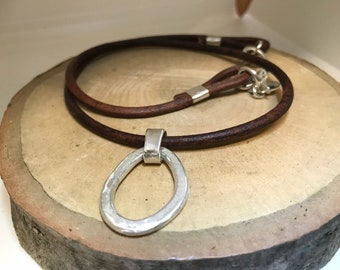 Thick, sterling link and leather necklace
