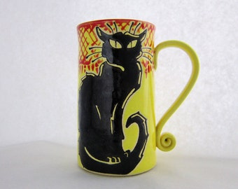 Chat Noir Mug, black cat mug, pottery mug, Birthday gift, animal art, holds approx 18 oz and is dishwasher and microwave safe.