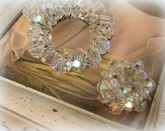 vintage demi parure beaded crystal brooch + earrings swarovski crystal ab cRystals circa 1960s pastel rainbow TONS of sParkle