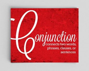 Conjunction Grammar Poster Print English Print Poster Teacher Gifts for Teachers Typographic Print English Gifts Gag Gift Office Decor