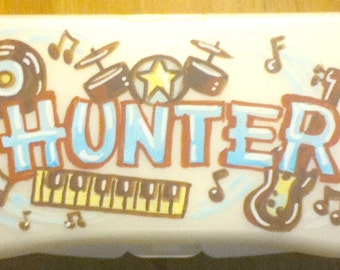 Baby Wipes Travel Case Personalized Rock and Roll Music Blue Brown Handpainted