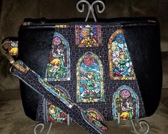 "Handmade Zelda Stained Glass Fabric with Black Vinyl ""Sunshine Wristlet"""