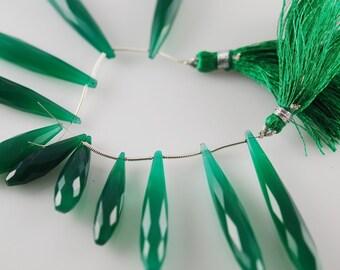 1/2 strand of long green onyx drops