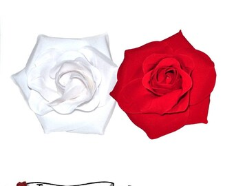 Rockabilly Hair Flower - Red or White Rose Retro Pinup Rockabilly Psychobilly Vintage