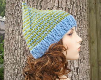 Knit Hat Womens Hat - Gnome Hat in Winooski Knit Hat - Blue Gnome Hat Blue Hat Blue Beanie Womens Accessories Winter Hat