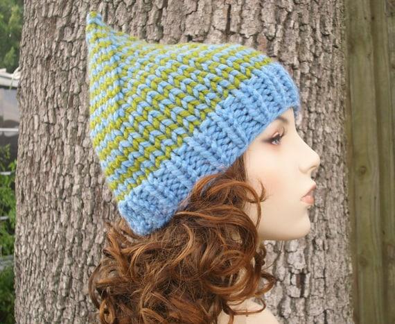 Knit Hat Womens Hat - Gnome Hat in Winooski Knit Hat - Blue Gnome Hat Blue Hat Blue Beanie Womens Accessories Winter Hat