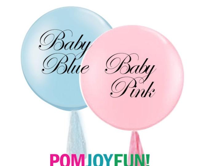 "Gender Reveal Balloon Set 36"" Round Latex Balloons, Gender Reveal Ideas, Latex Balloons Pastel Pink & Pastel Blue Balloons"