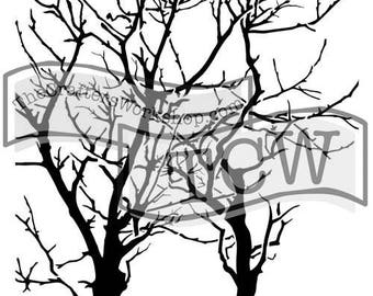 TCW Crafter's Workshop Mini REVERSED BRANCHES 6x6 Stencil Paint Cards TCW251s