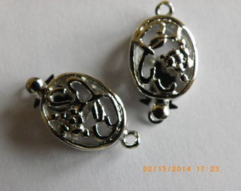Silver 5 oval clasps with brass flowers 20 mm x 10 clasps box