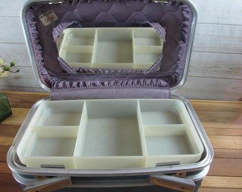 Vintage Train Case with Mirror & Cosmetic Tray