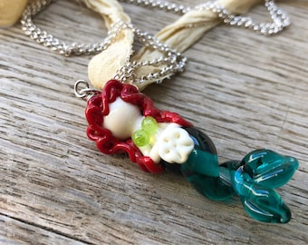Shelina - Mermaid Necklace - Black Haired Glass Lampwork Glass Bead Pendant with Swavorski Crystals