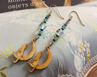 Cat sitting on a Crescent Moon wooden - glass cube beads - bicone beads in olivine and Amethyst crystal earrings
