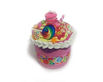 Decoden Cupcake Trinket Box - Jewelry box  candy jar vintage cup container baker gift storage box