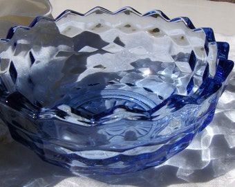Colony Whitehall Light Blue Candy Bowl Vintage Stacked Cube Glass - #2557