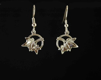 Ivy leaf drop or dangle earrings inspired by nature and hand-made in 925 sterling silver