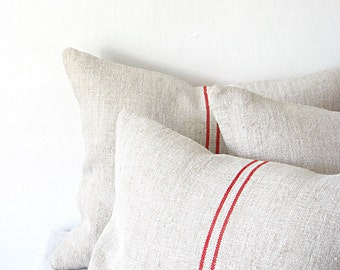 Pillow Grainsack Vintage Grainsack Pillow Dark Red Stripe Rustic Farmhouse Primitive French Country Holiday Gift