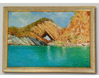 Hole Island - Original Oil Painting Framed & Signed Iztuzu Beach Dalyan Turkey By Generoso Napoliello ( Gino ) Seascape