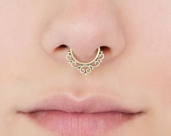 Fake Septum Ring. fake septum piercing. brass septum ring. tribal septum ring. faux septum. septum cuff. brass septum. fake septum jewelry.