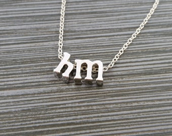 Silver Initial Necklace - Two Initial Necklace - Initial Personalized Necklace - Letter Necklace - Layering Necklace - Mothers Day Necklace