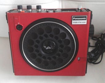 Vintage Panasonic Boombox Model RF-888 Portable 3 Band Psb AM FM Receiver Radio red