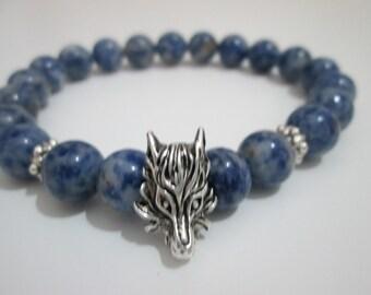 Sodalite, Sodalite bracelet, Mens jewelry, Mens stone bracelet, Wolf's head, Wolf's bracelet, Bracelet, Natural stone bracelet, Men bracelet