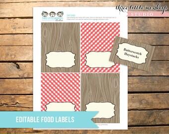 Vintage Barnyard Bash Farm Tent Cards Food Labels