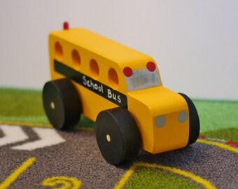 Toy Yellow School Bus - Toy Wood School Bus - Handcrafted Wooden Yellow School Bus Toy - Back to School Gift for Student or Teacher