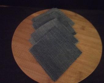 18 Medium Blue Jean Denim Cut Fabric Quilt Block Craft Squares-4-1/2 inch sq.