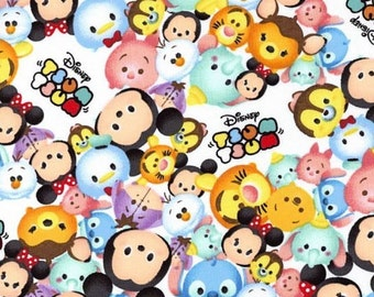 "Disney Tsum Tsum Fabric: Mickey Mouse and friends Packed Characters Logo White  100% cotton Fabric by the yard 36""x43"" (SC664)"