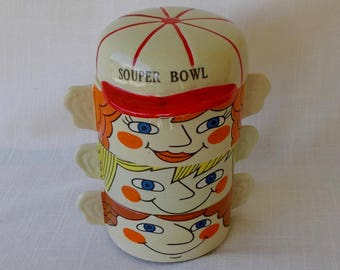 Stacking Soup Bowls, Vintage 1950's Souper Family