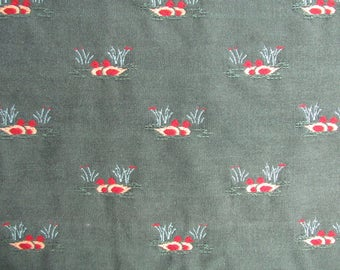 Vintage Upholstery Fabric with Pairs of Ducks