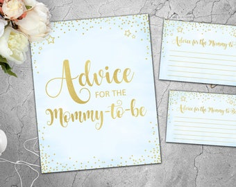 Advice for the Mommy-to-Be Baby Shower Advice Cards Blue and Gold Baby Shower Games Signs Cards Boys Printable Games Instant Download 041