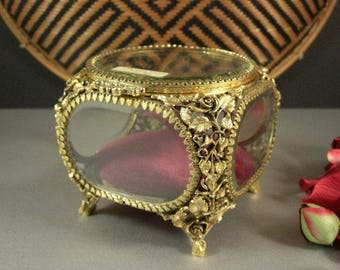 Matson Ormolu and Beveled Glass Jewelry Casket Trinket Dresser Wedding Ring Box
