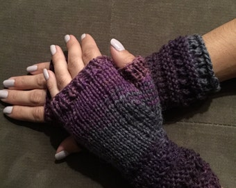 Hand Knitted Fingerless Gloves purple and grey winter gloves