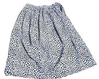 Flared Midi Skirt | 80s vintage black and white organic print high waist aline tea length womens classic staple skirt medium M large L