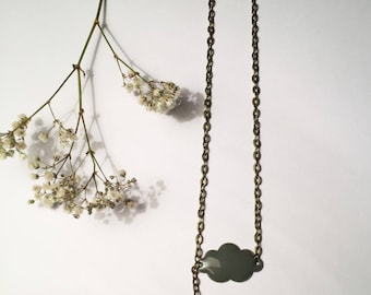 Gray and small cloud necklace Star Blue mint