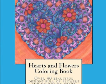 Hearts and Flowers Coloring Book