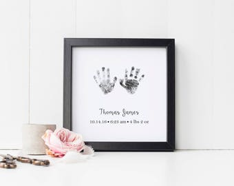 Baby Handprint Art Print, Personalized Hand Print Wall Art with Actual Handprints, Nursery Art, Newborn Gift, Infant Loss, Stillbirth Gift