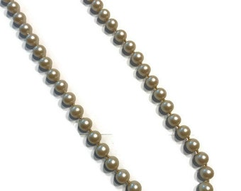 Vintage Faux Pearl Necklace with Rhinestone Clasp, Single Strand Pearls, Rope Pearl Necklace, Costume Jewelry