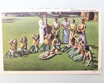 Vintage HI Postcard Hawaiian Hula Dancers and  Poi Pounder Hawaii Postcard