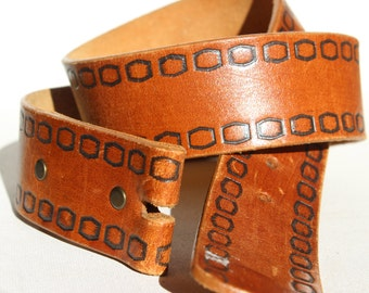 Antiqued Cowhide Hand Finished Brown Leather Replacement Belt Double Snap