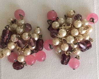 Vintage Miriam Haskell Signature Cluster Clip On Earrings